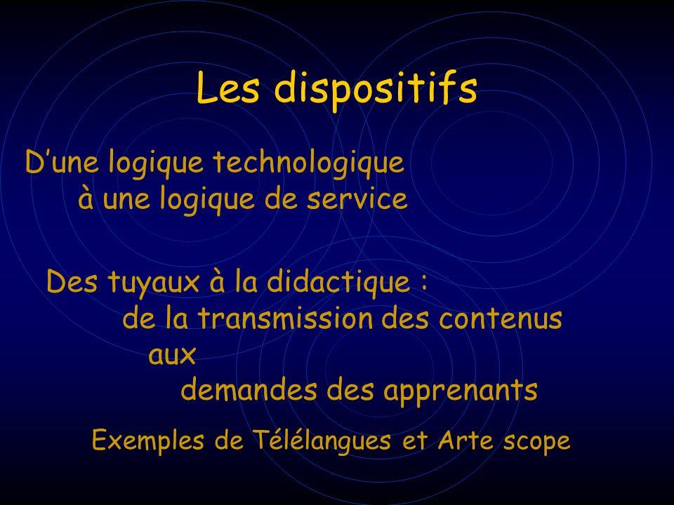 Les dispositifs D'une logique technologique à une logique de service