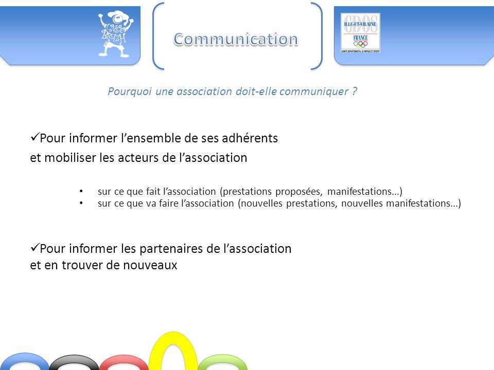 Communication Pour informer l'ensemble de ses adhérents