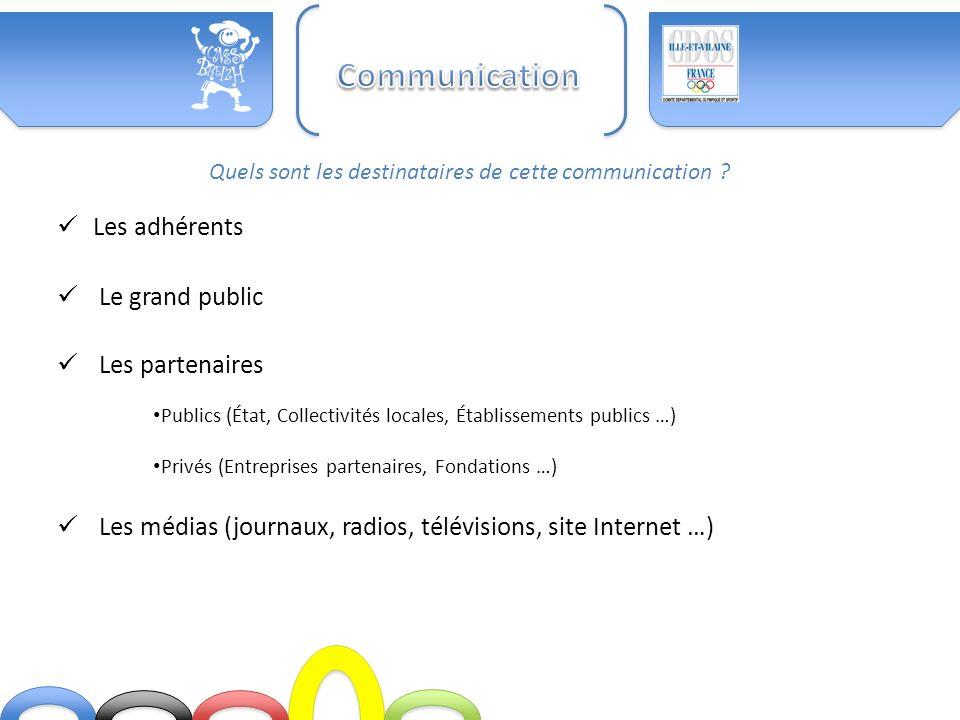 Communication Les adhérents Le grand public Les partenaires