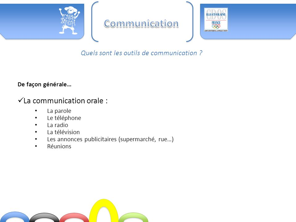 Communication La communication orale :