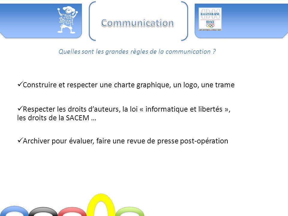 Communication Quelles sont les grandes règles de la communication Construire et respecter une charte graphique, un logo, une trame.