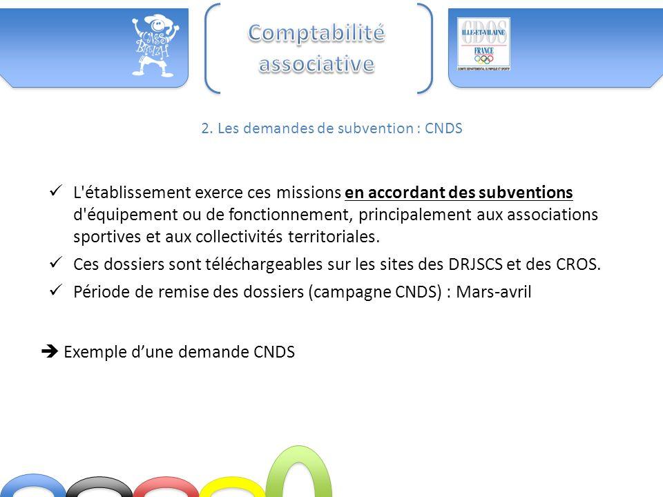 2. Les demandes de subvention : CNDS