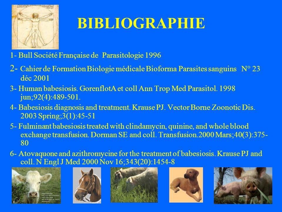 BIBLIOGRAPHIE 1- Bull Société Française de Parasitologie 1996.