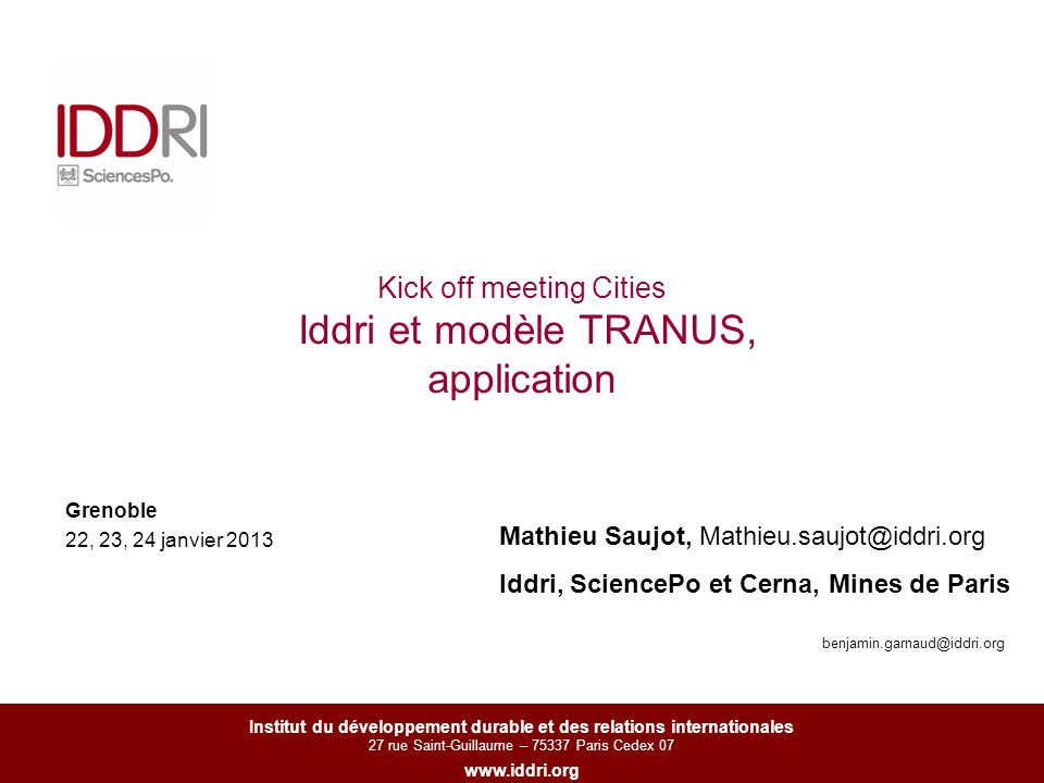 Kick off meeting Cities Iddri et modèle TRANUS, application