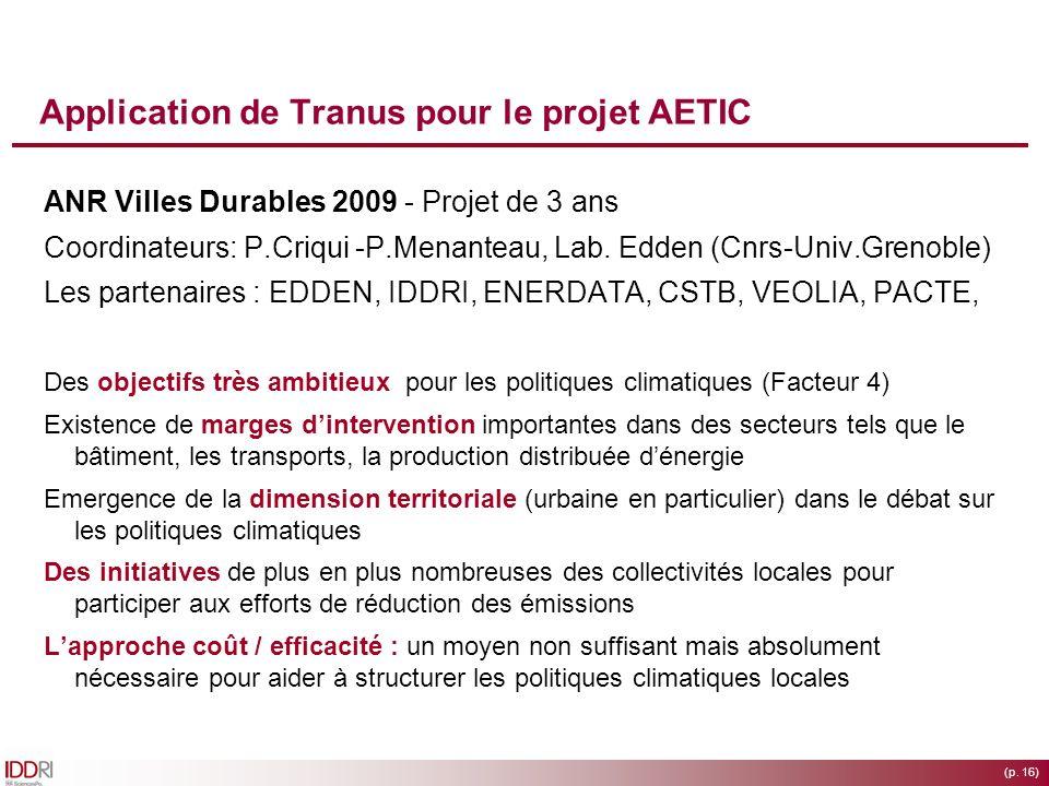 Application de Tranus pour le projet AETIC