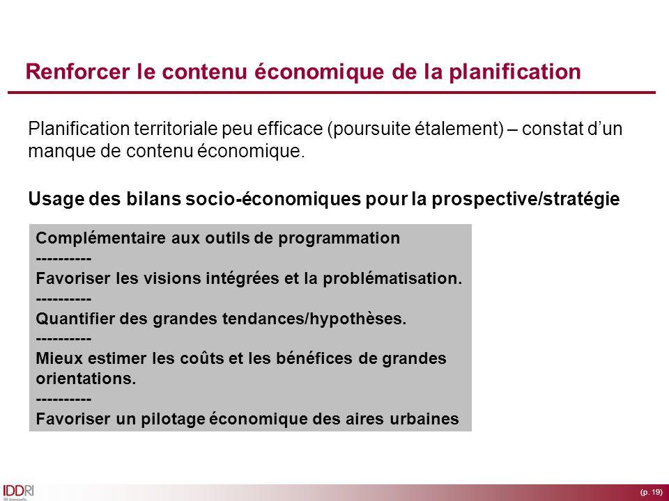 Renforcer le contenu économique de la planification