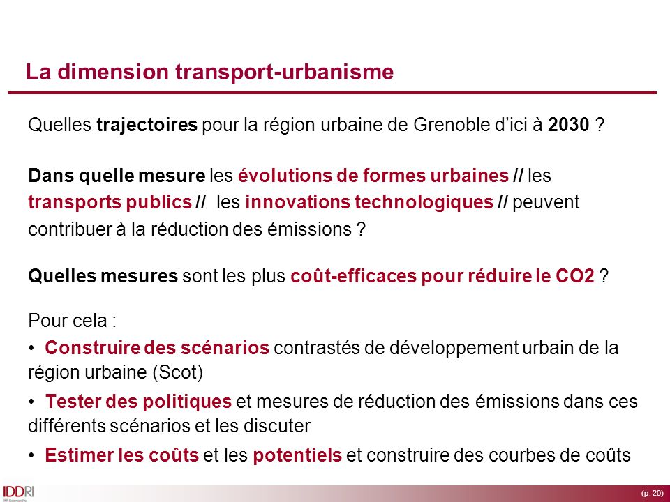 La dimension transport-urbanisme