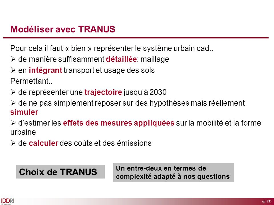 Modéliser avec TRANUS Choix de TRANUS