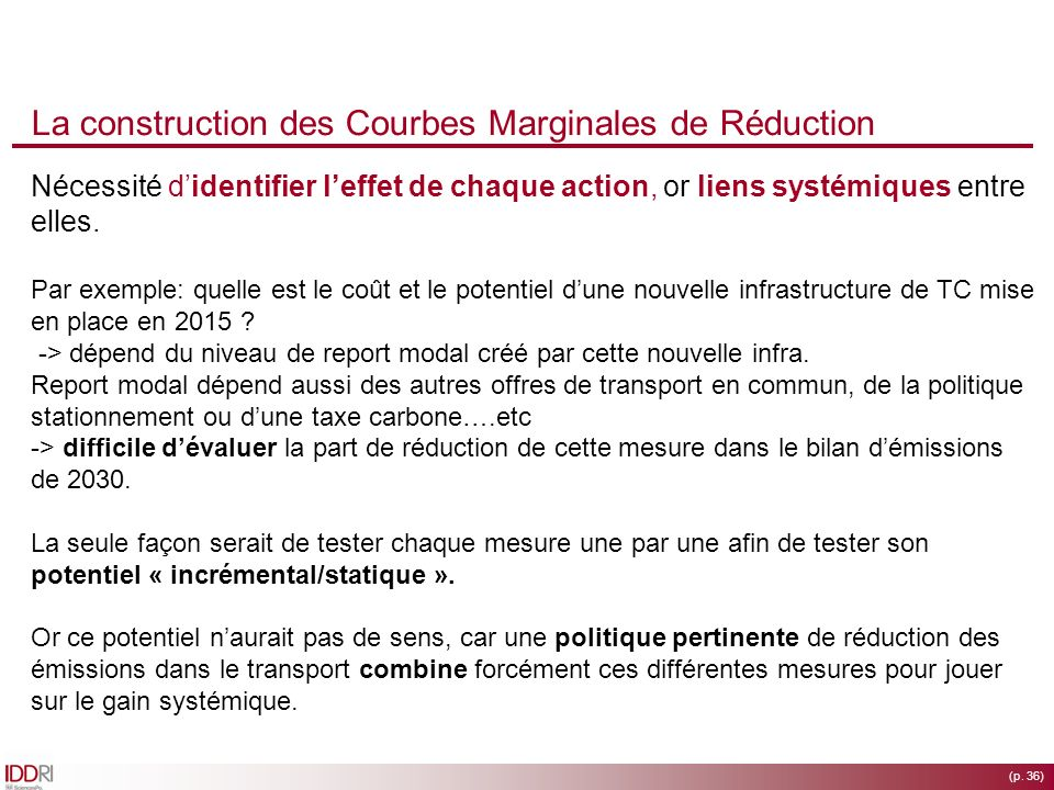 La construction des Courbes Marginales de Réduction