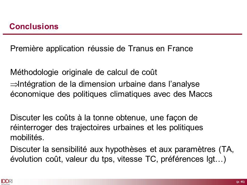 Conclusions Première application réussie de Tranus en France. Méthodologie originale de calcul de coût.