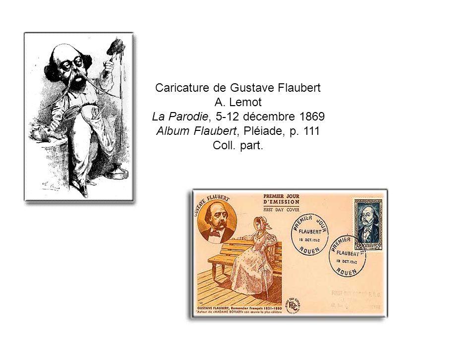 Caricature de Gustave Flaubert A. Lemot La Parodie, 5-12 décembre 1869