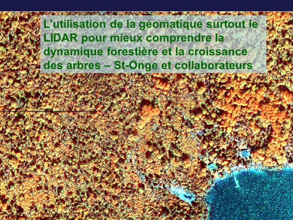 L'utilisation de la géomatique surtout le LIDAR pour mieux comprendre la dynamique forestière et la croissance des arbres – St-Onge et collaborateurs