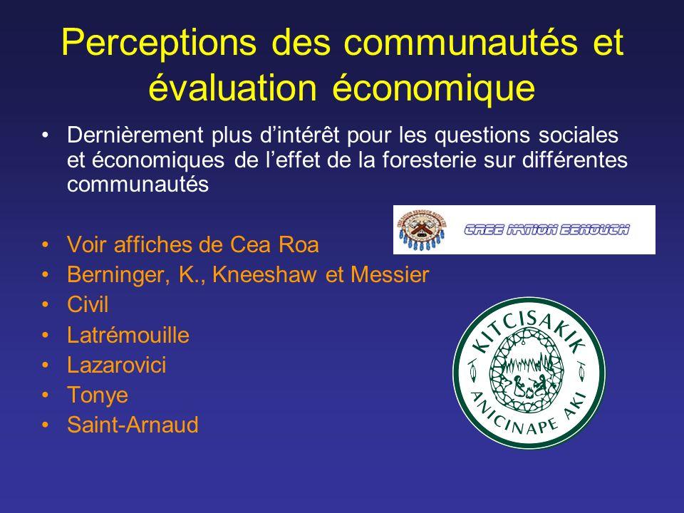 Perceptions des communautés et évaluation économique