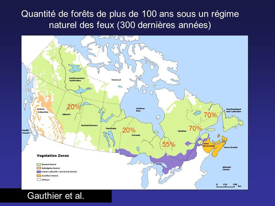 Quantité de forêts de plus de 100 ans sous un régime naturel des feux (300 dernières années)