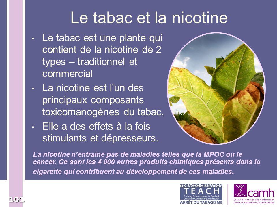 Le tabac et la nicotine Le tabac est une plante qui contient de la nicotine de 2 types – traditionnel et commercial.