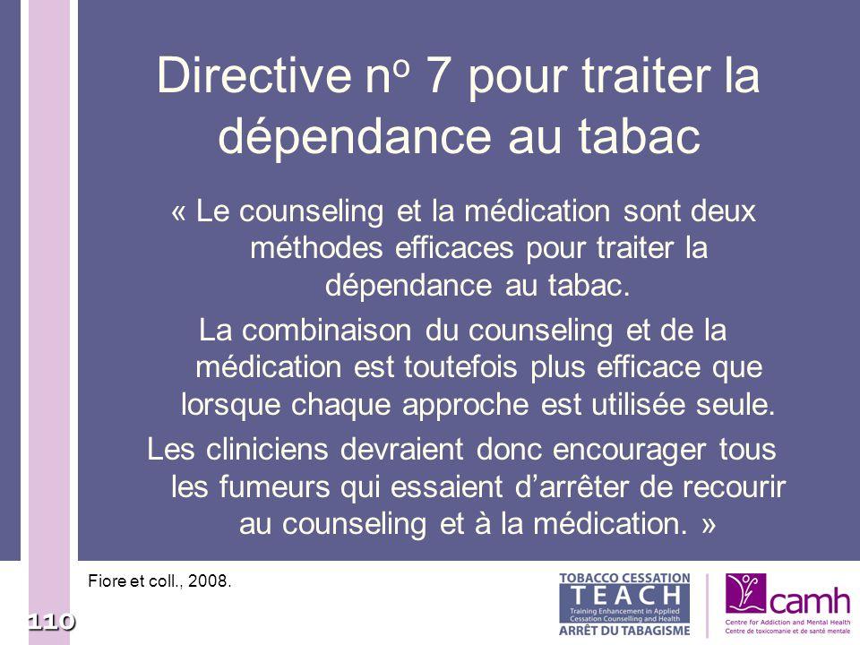Directive no 7 pour traiter la dépendance au tabac