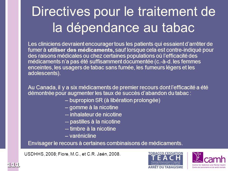 Directives pour le traitement de la dépendance au tabac