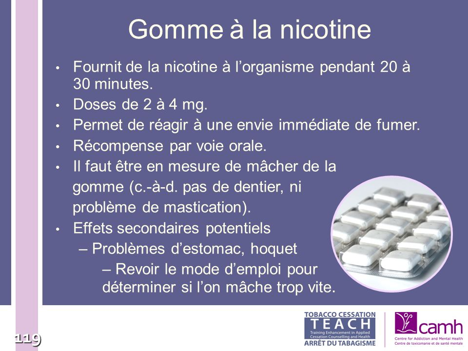 Gomme à la nicotine Fournit de la nicotine à l'organisme pendant 20 à 30 minutes. Doses de 2 à 4 mg.