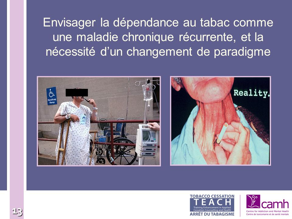 Envisager la dépendance au tabac comme une maladie chronique récurrente, et la nécessité d'un changement de paradigme