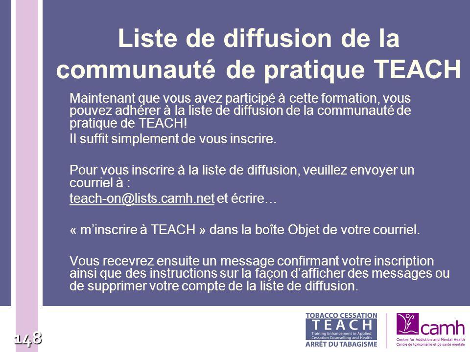 Liste de diffusion de la communauté de pratique TEACH