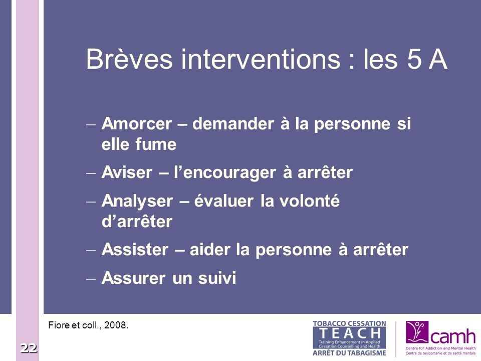 Brèves interventions : les 5 A