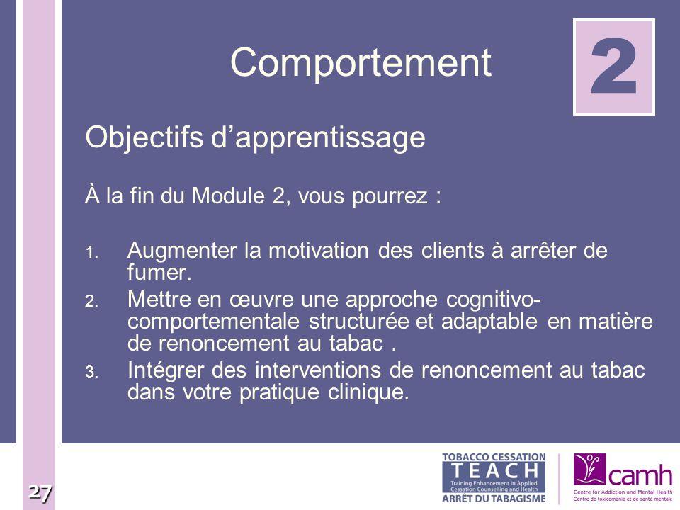 2 Comportement Objectifs d'apprentissage
