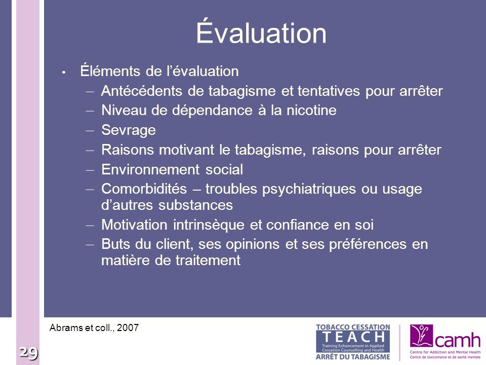 Évaluation Éléments de l'évaluation