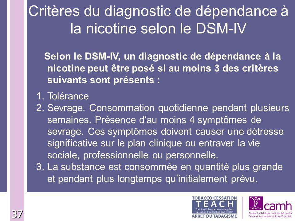 Critères du diagnostic de dépendance à la nicotine selon le DSM-IV