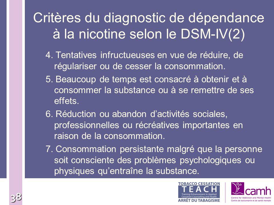 Critères du diagnostic de dépendance à la nicotine selon le DSM-IV(2)