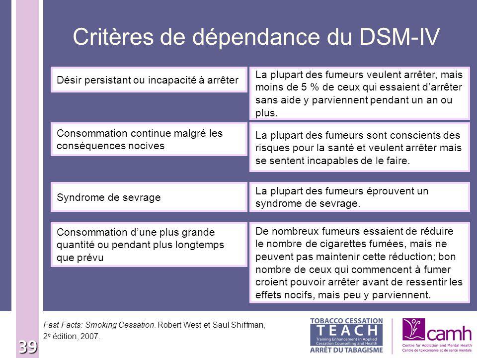 Critères de dépendance du DSM-IV