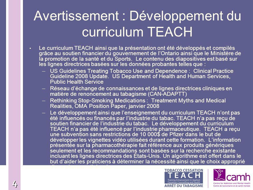 Avertissement : Développement du curriculum TEACH