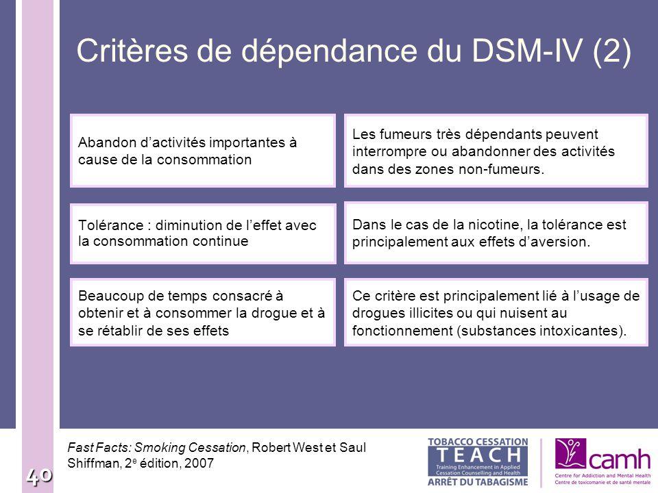 Critères de dépendance du DSM-IV (2)