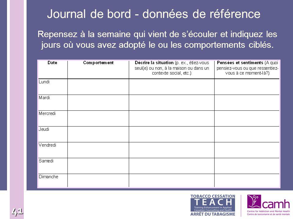 Journal de bord - données de référence