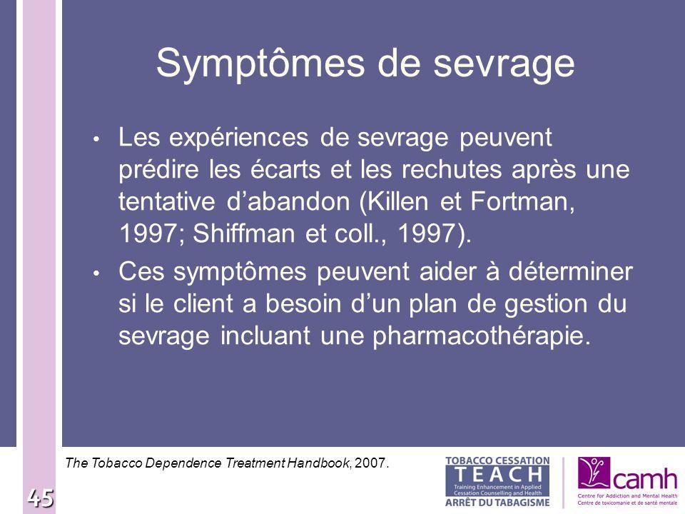 Symptômes de sevrage