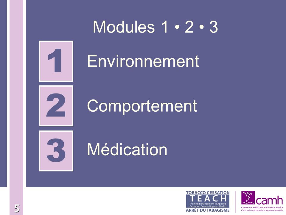 Modules 1 • 2 • 3 1 Environnement 2 Comportement 3 Médication 5