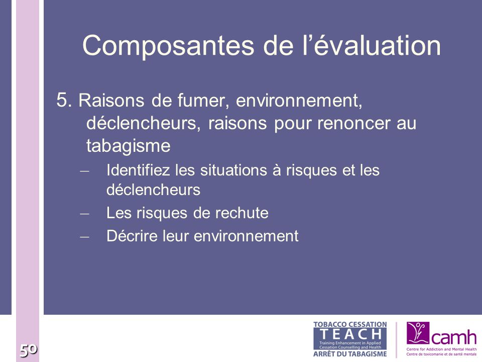 Composantes de l'évaluation
