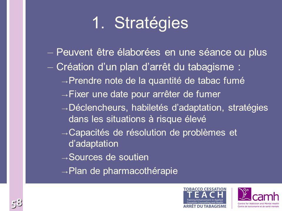 1. Stratégies Peuvent être élaborées en une séance ou plus