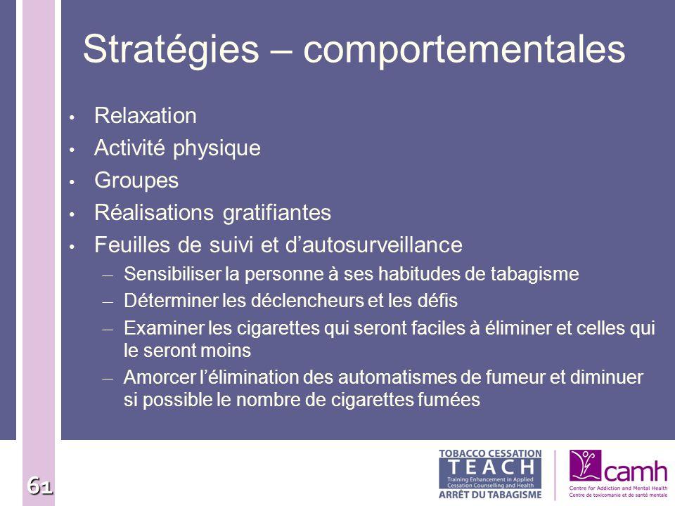 Stratégies – comportementales