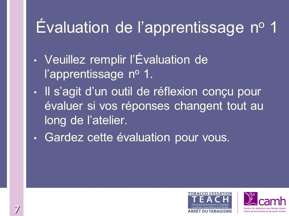 Évaluation de l'apprentissage no 1
