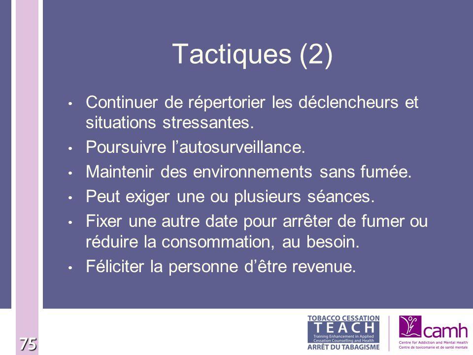 Tactiques (2) Continuer de répertorier les déclencheurs et situations stressantes. Poursuivre l'autosurveillance.