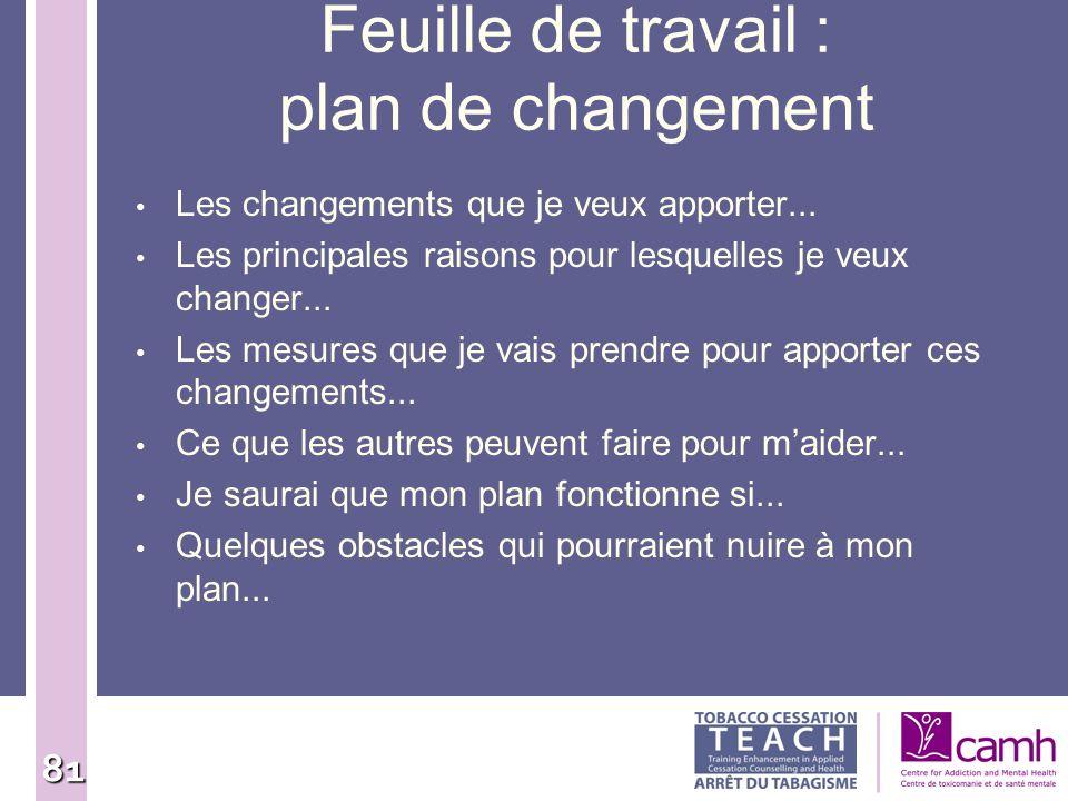Feuille de travail : plan de changement
