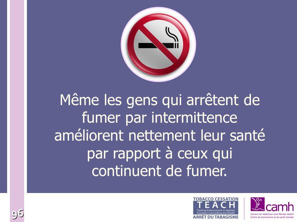 Même les gens qui arrêtent de fumer par intermittence améliorent nettement leur santé par rapport à ceux qui continuent de fumer.