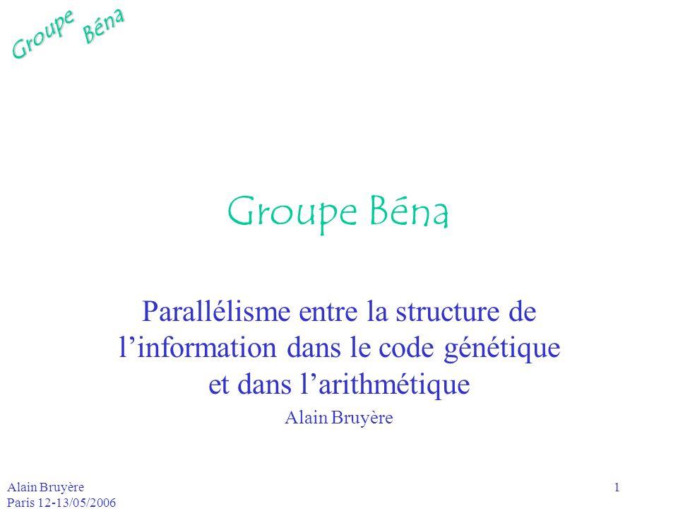 Groupe Béna Parallélisme entre la structure de l'information dans le code génétique et dans l'arithmétique.