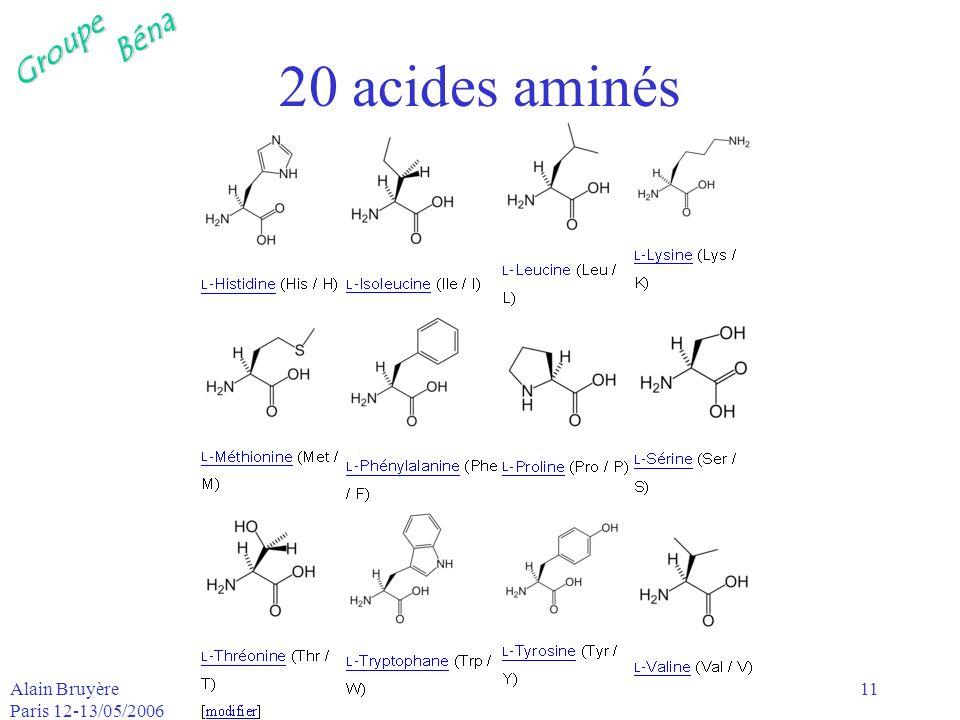 20 acides aminés Alain Bruyère Paris 12-13/05/2006