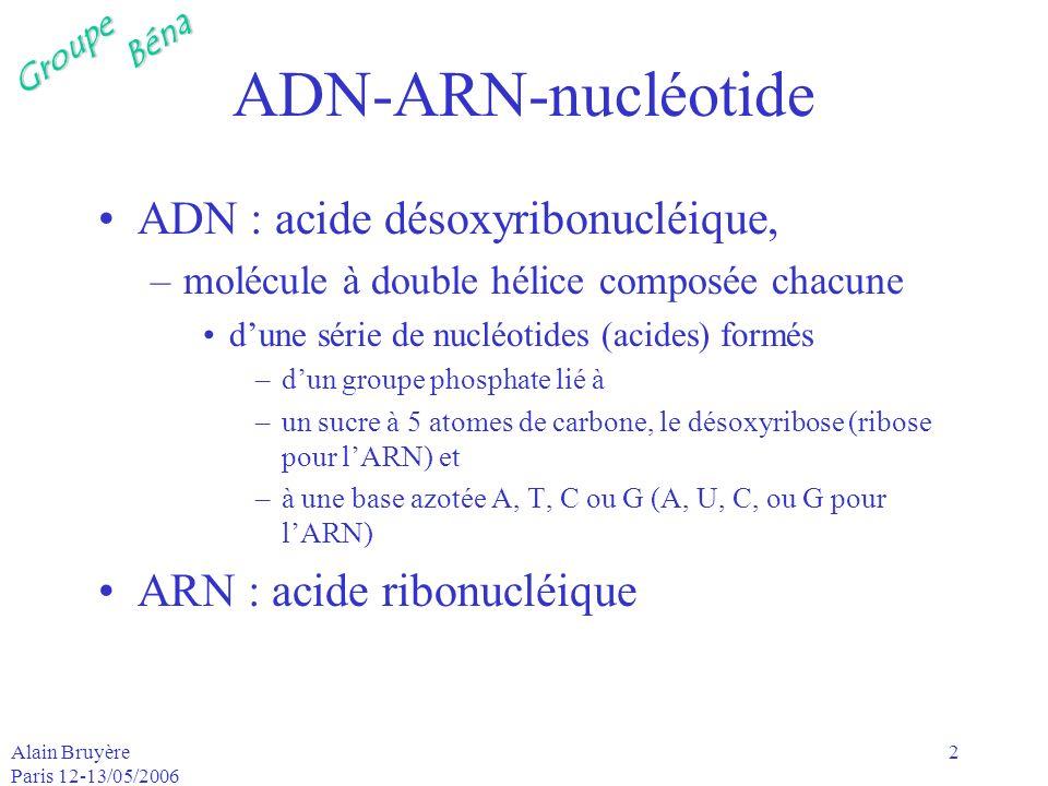 ADN-ARN-nucléotide ADN : acide désoxyribonucléique,