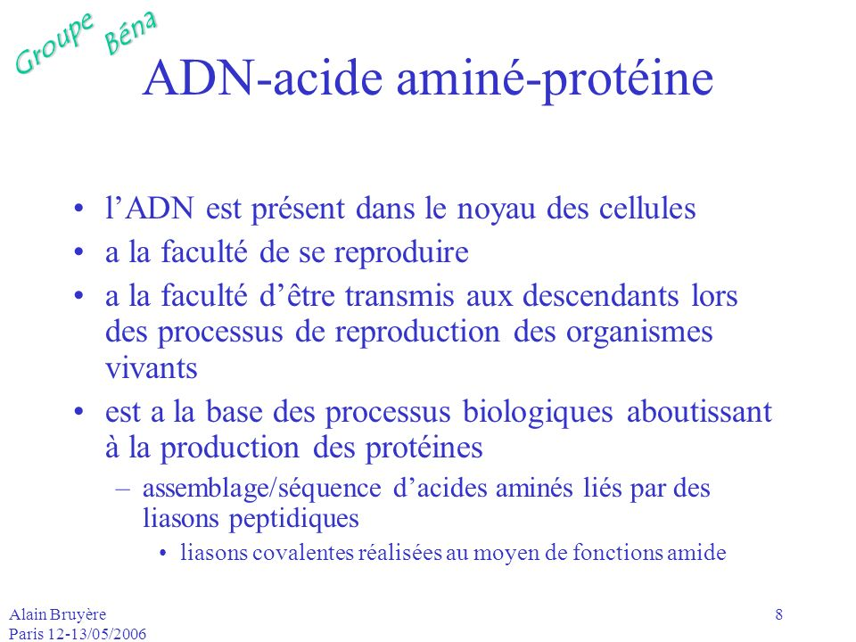 ADN-acide aminé-protéine