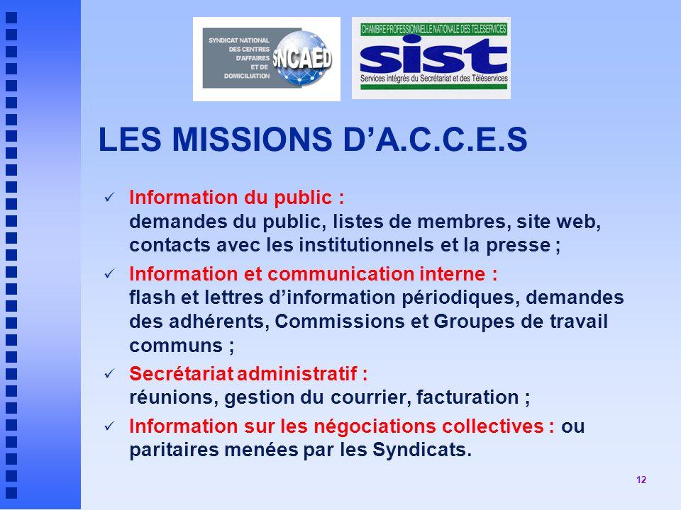 LES MISSIONS D'A.C.C.E.S Information du public : demandes du public, listes de membres, site web, contacts avec les institutionnels et la presse ;