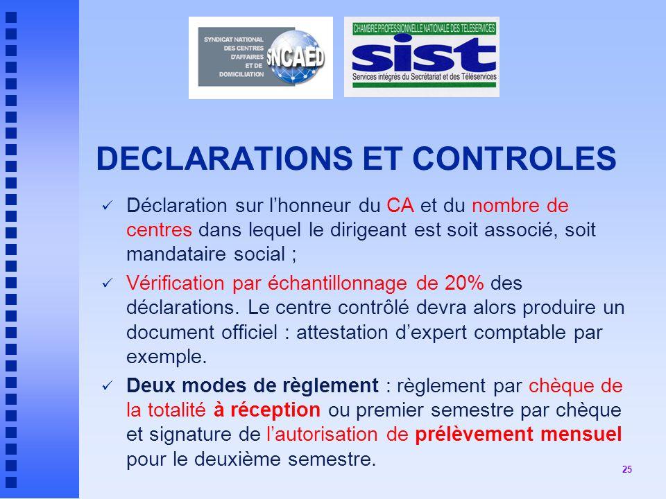 DECLARATIONS ET CONTROLES