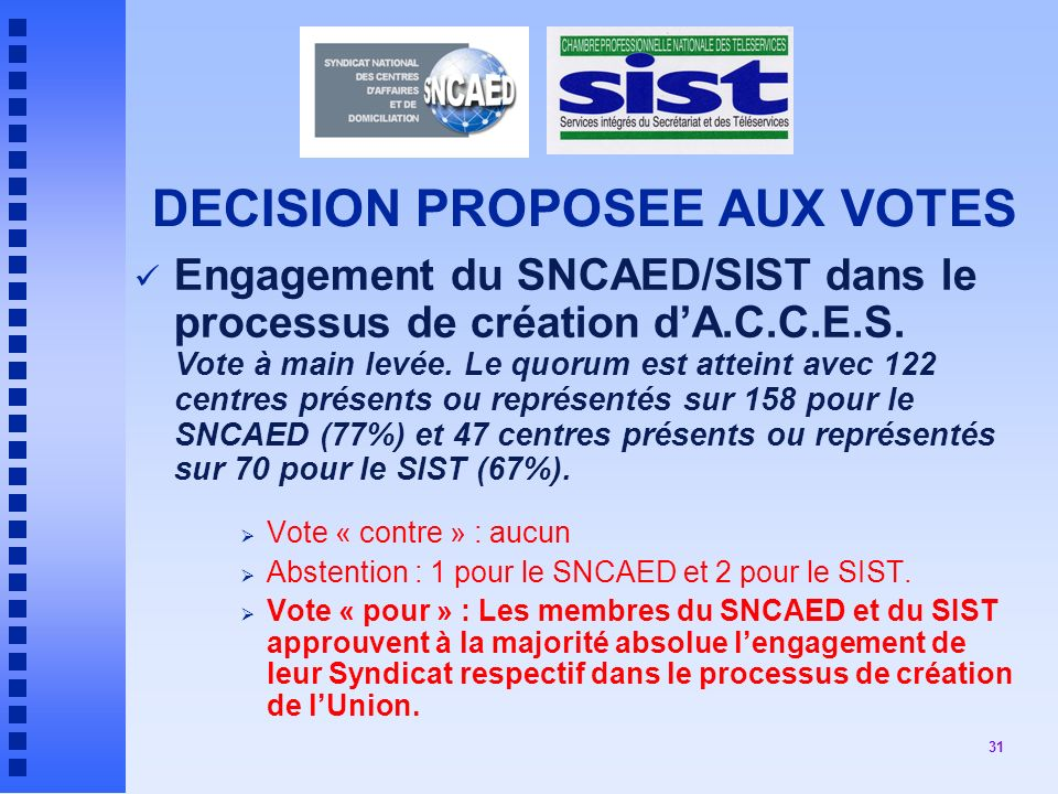 DECISION PROPOSEE AUX VOTES