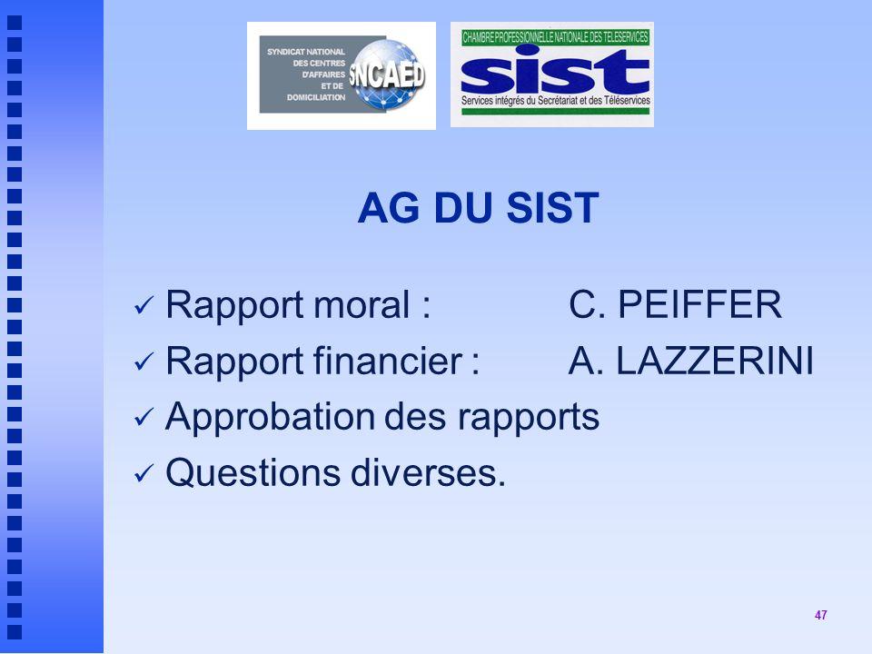 AG DU SIST Rapport moral : C. PEIFFER Rapport financier : A. LAZZERINI